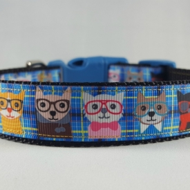 Blue cats w/glasses Dog Collar- Medium/Large