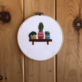 Cactus on a shelf embroidery
