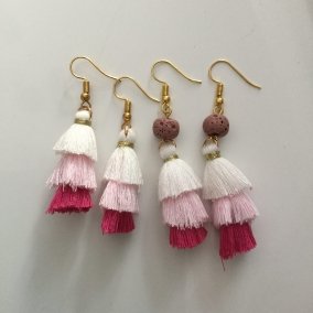 White-Pink Tassel Earrings