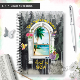 World That Is New Notebook | Floral/Window| 5 x 7 [DN01]