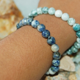 2 for 1 Stretchy Natural Sodalite & Moss Agate Bracelets