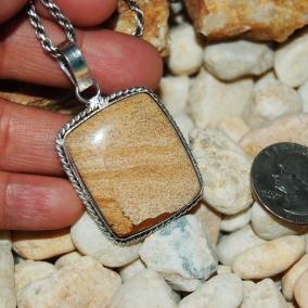 Earthy Picture Jasper Brownish Cream Pendant 2″