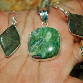 Ruby Zoisite Set of Pendant & Earrings