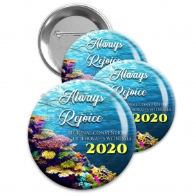 """Regional Convention 2020 """"Always Rejoice"""" backpin buttons. 1.5"""" jw.org buttons pins #Reef"""