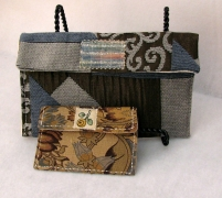 Clutch Purse with Card/Cash Pouch, Women Clutch, Blue and Brown