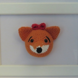 Framed Amigurumi Fox.