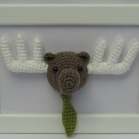 Framed Amigurumi Moose.