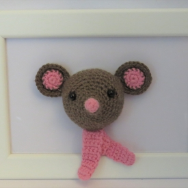 Framed Amigurumi Mouse.