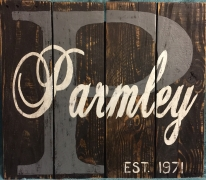 Personalized Family Name Wedding / Anniversary Recycled Materials Sign