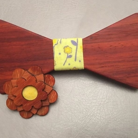 Padauk Bowtie and Flower Lapel