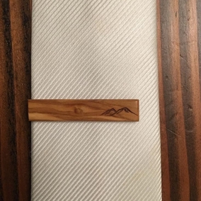 Olive Wood Tie Clip with Mountains