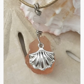 Salmon Pink Beach Glass Pendant with Scallop Shell Charm and Blush Quartz Accents