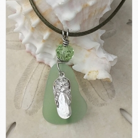 Stunning Seafoam & Flip-Flop Pendant with Sparkling Crystal Accent