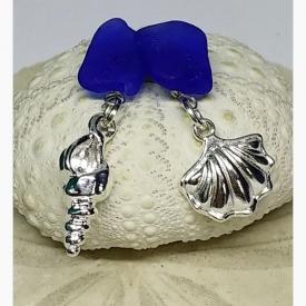 Asymmetrical Earrings: Cobalt Sea Glass with Silvertone Sea Life Charms