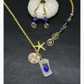 Oceans of Love Lariat Y-Necklace and Coordinating Blue Bicone Crystal Spiral French Hook Earrings