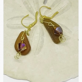 Surf-tumbled amber sea glass earrings with 24K gold over copper and gold-filled wire wrap