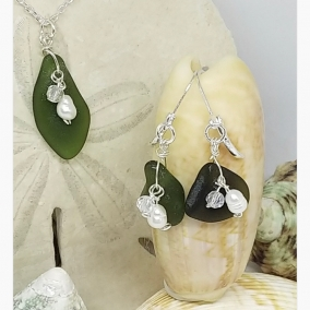 925 Sterling Silver and Olive Green Sea Glass Necklace and Earring Ensemble