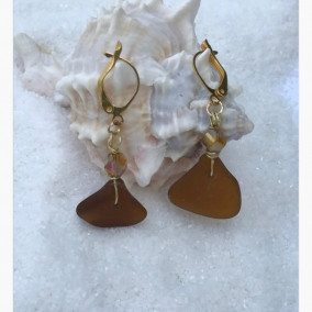 Amber Sea Glass 24K Gold Over Copper Leverback Earrings