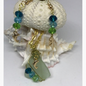 Delightful Dancing Goldtone Dolphin Sea Glass Pendant and Earrings with Shimmering Crystals in Caribbean Hues