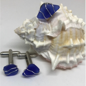 Men's Cufflinks and Tie Tack Ensemble – Genuine Cobalt Blue Sea Glass with Silver or Gold Tone Wire Wrap