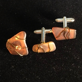Men's Cuff Links and Tie Tack or Lapel Pin – Genuine Surf-Tumbled Sea Glass from Puerto Rico