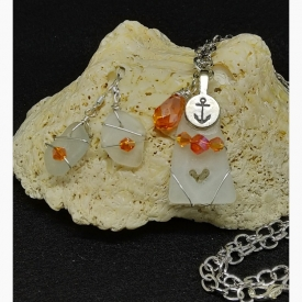 Hearts Ahoy! Nautical Themed Heart and Anchor Sea Glass Pendant and Earrings (Orange)