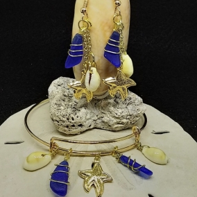 Bangle 'n' Dangle Duo – Sea Glass Charm Bracelet with Matching Drop Earrings