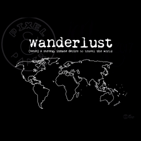 World Map Art | Wanderlust Quote | Black and White Map | Map of the World | Minimalist Map Art