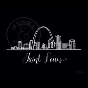 Saint Louis Skyline   Saint Louis Cityscape   Saint Louis Art Print   Black and White Skyline