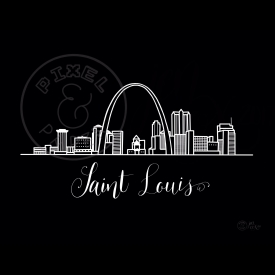 Saint Louis Skyline | Saint Louis Cityscape | Saint Louis Art Print | Black and White Skyline
