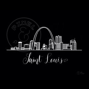 Saint Louis Skyline | Saint Louis Cityscape | Saint Louis Art Print | Black and White Skyline
