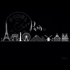 Paris Skyline | Paris Cityscape | Paris Art Print | Paris France | Black and White Skyline