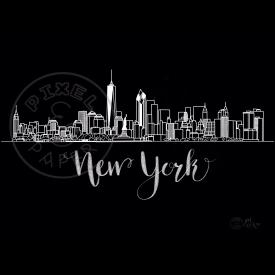 New York Skyline | New York Cityscape | New York Art Print | Black & White Skyline