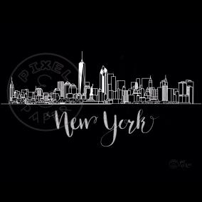 New York Skyline | New York Cityscape | New York Art Print | Black & White Skyline