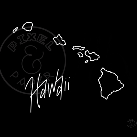 Map of Hawaii | Hawaiian Islands | Hawaii Map | Black and White Map | Minimalist Map Art
