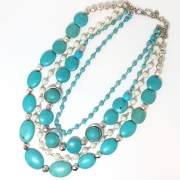 Turquoise color Magnesite, glass pearls several strands necklace