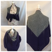 Triangle color block shawl