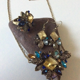 Blues and yellows boho necklace