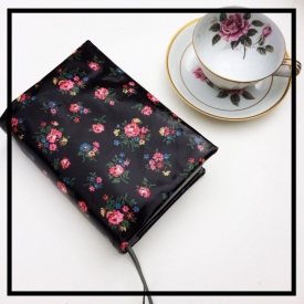 Cath Kidston Oilcloth Bible Cover For NWT- Pretty Black With Pink Roses