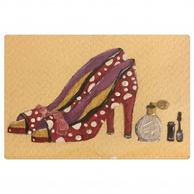 Miniature 5×7″ mounted, original glamourous high heel shoe painting.