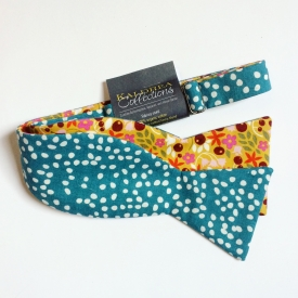 Floral/Teal Dots Reversible Organic Bow Tie