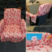 Pink Flower Chair Cover