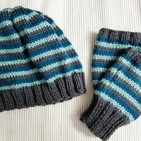 Matching Hat and Fingerless Gloves/ Wrist Warmers