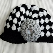 Black and White hat with Flower