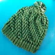 Spiral crochet pompom winter hat