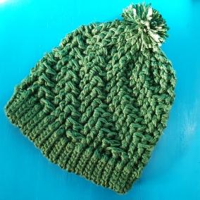 Spiral crochet pompom winter hat