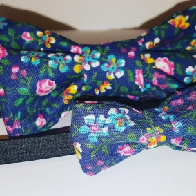 Spring Blossoms Clip On Bows Ties and Headband