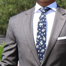 100% cotton blue tie – gentlemans floral