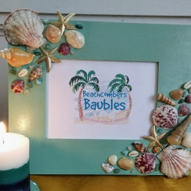 Maritime Memories Seashell Embellished 8 x 10 Horizontal Picture Frame in Seafoam Green