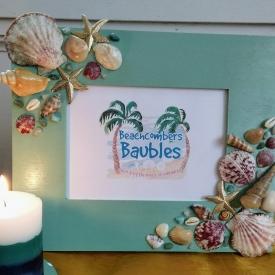 Maritime Memories Seashell Embellished 8 x 10 Horizontal Picture Frame in Seafoam Green